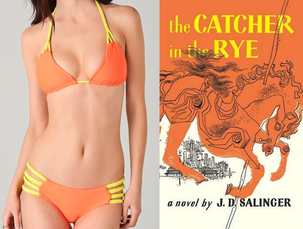 "The book: Catcher in the Rye by J.D. Salinger <br /><br />The first sentence: ""If you really want to hear about it, the first think you'll probably want to know is where I was born, and what my lousy childhood was like, and how my parents were occupied and all before they had me, and all that David Copperfield kind of crap, but I don't feel like going into it, if you want to know the truth.""<br /><br />The bikini: Tori Praver Shyla Bikini"
