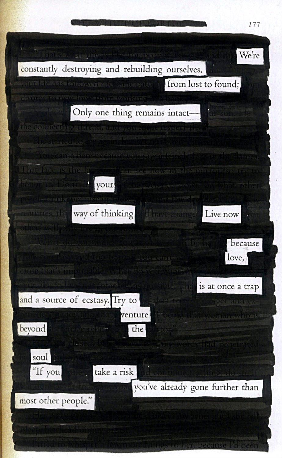 Live Now - Blackout Poem by Kevin Harrell (see more atwww.blackoutpoetry.net)