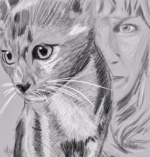 Sketch done in Adobe Photoshop CS6 of a Grey Cat and a womans face