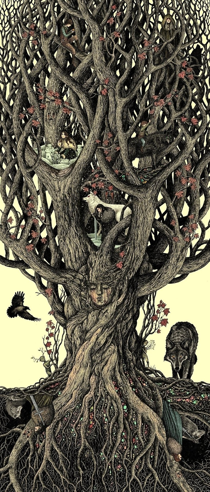 under the heart-tree by ~bubuga1Another gorgeous asoiaf illo by the unimitable bubug. I don't think i will ever get over how gorgeous her work is. Can you spot all the Starks?