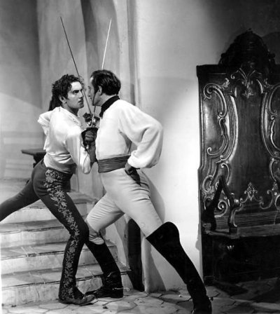 Basil Rathbone & Tyrone Power in 'The Mark of Zorro' film still, source: Through a Glass Darkly