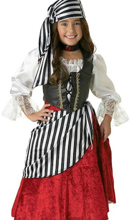 A young girls pirate costume