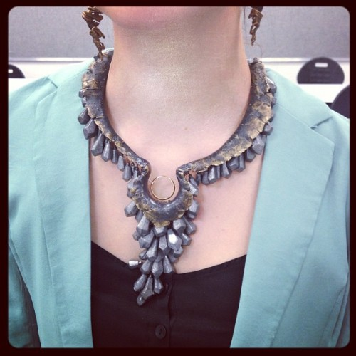 Impressed by @SCADdotedu student jewelry work: raw-looking collar w/ lead fishing weights