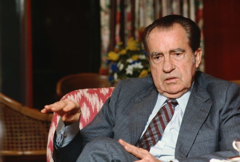Former President Richard M. Nixon gives an interview in the living room of his home. (Photo by © Wally McNamee/CORBIS/Corbis via Getty Images)