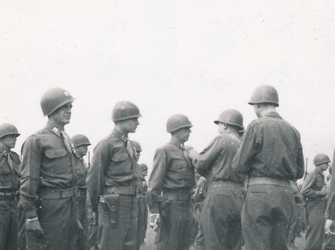 74. Lt. Hightower receiving the Silver Star, Gen. G Patton presenting, Cham Germany May 1945