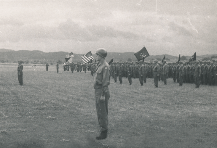 87. Pass in review just prior to the rain. Cham Germany May 1945