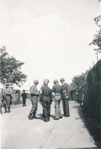 148. Cham Major Carey A. Clark, Major Robert G. Humphries, Capt. Nathaniel H. Soloman, Presenting Bronz Star Cham Germany 1945