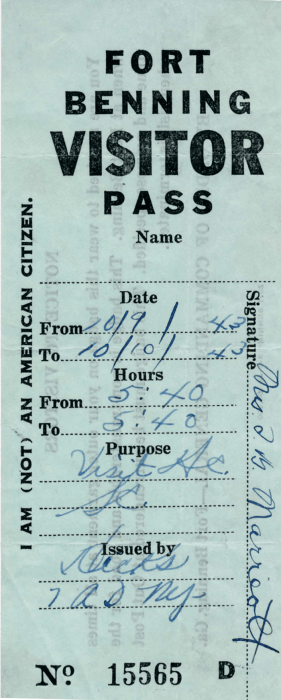 10-09-43-Fort-Benning-Visitor-Pass-Frount--