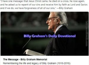 Billy Graham's Daily 10 March 2018 Devotional