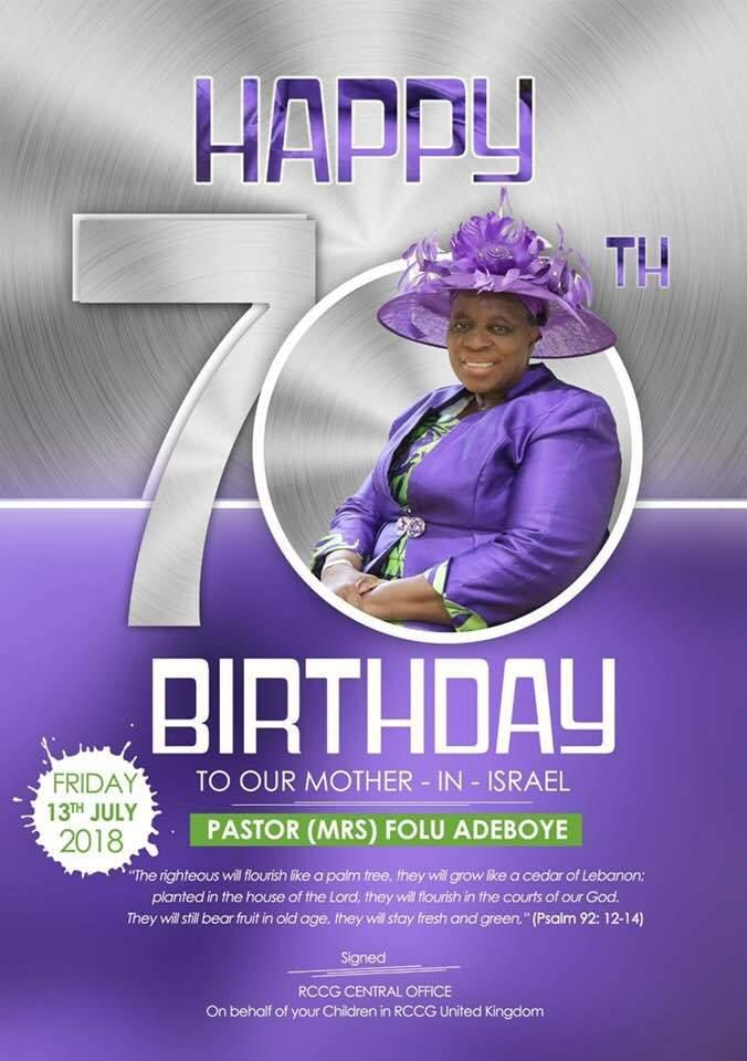 Happy 70th Birthday Folu Adeboye Mummy G O