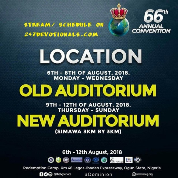 Programme Schedule RCCG 66th Annual Convention 2018
