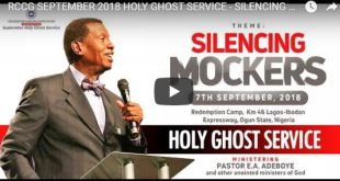 Watch LIVE: RCCG September 2018 Holy Ghost Service