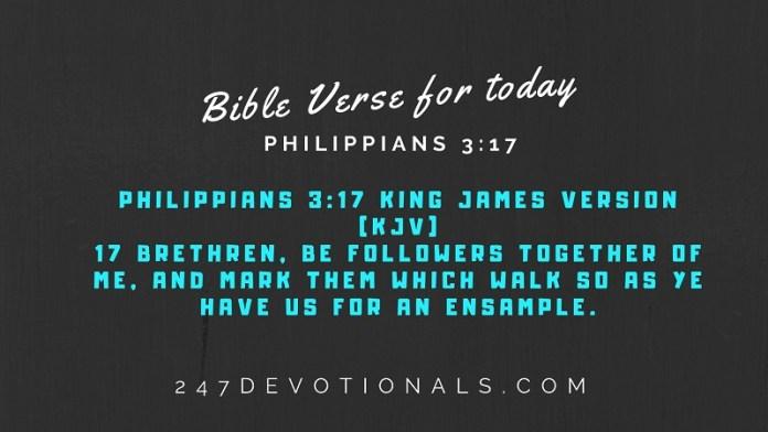 Bible Verse for today Philippians 3:17 #247devotionals