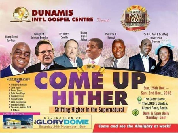 Dunamis Church Dedication of Glory Dome on Nov 24th in Abuja