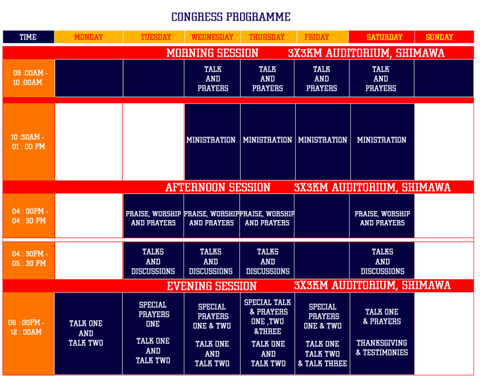 Programme Schedule RCCG 2018 December Holy Ghost Congress