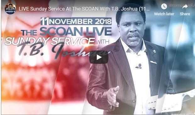 T.B. JOSHUA SCOAN LIVE Sunday Service Nov 4 2018