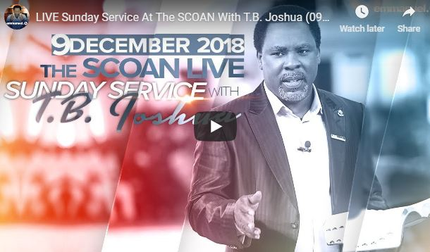 LIVE Sunday Service At The SCOAN With T.B. Joshua 09 12 2018