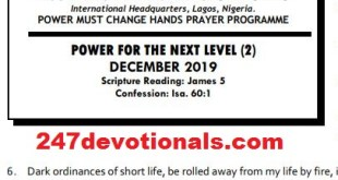 POWER MUST CHANGE HANDS PRAYER PROGRAMME POWER FOR THE NEXT LEVEL (2) DECEMBER 2019
