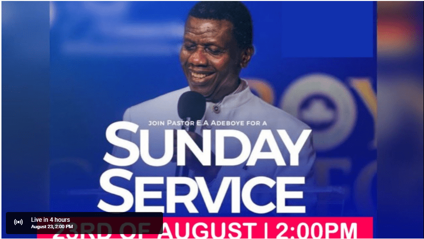 RCCG sunday service 23rd 2020