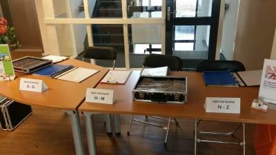 Registratietafel voor opening van het Huis Sociaal Domein