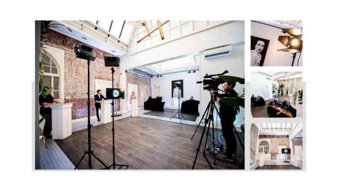 Hier zie je nog een voorbeeld van een Livestream studio, die voor een online congres en plenaire sessies ingezet kan worden