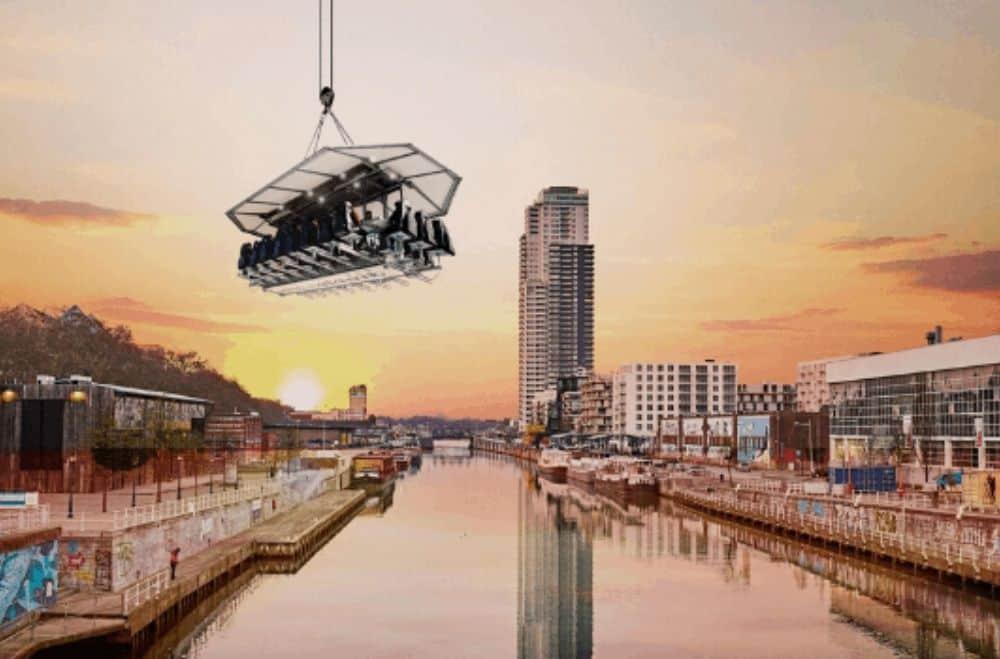 Evenement in de lucht Dinner in the Sky platform zweven en dineren