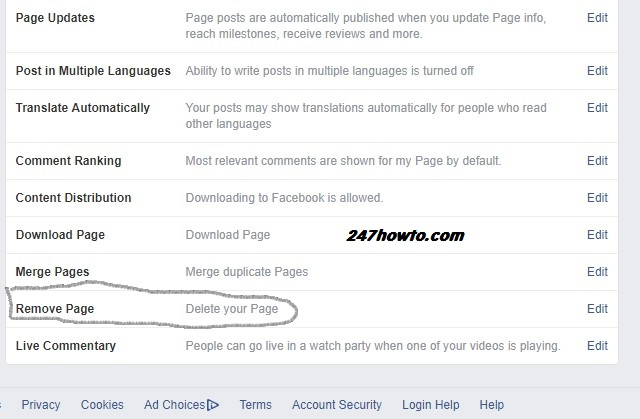 remove facebook page