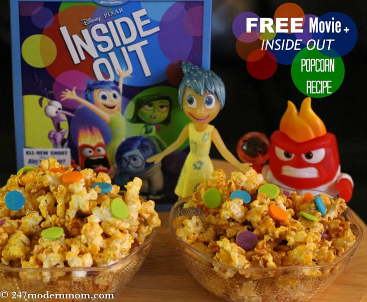 Try These Inside Out Treats: Emotions Popcorn Recipe + How To Get a Free Digital Copy of the Movie