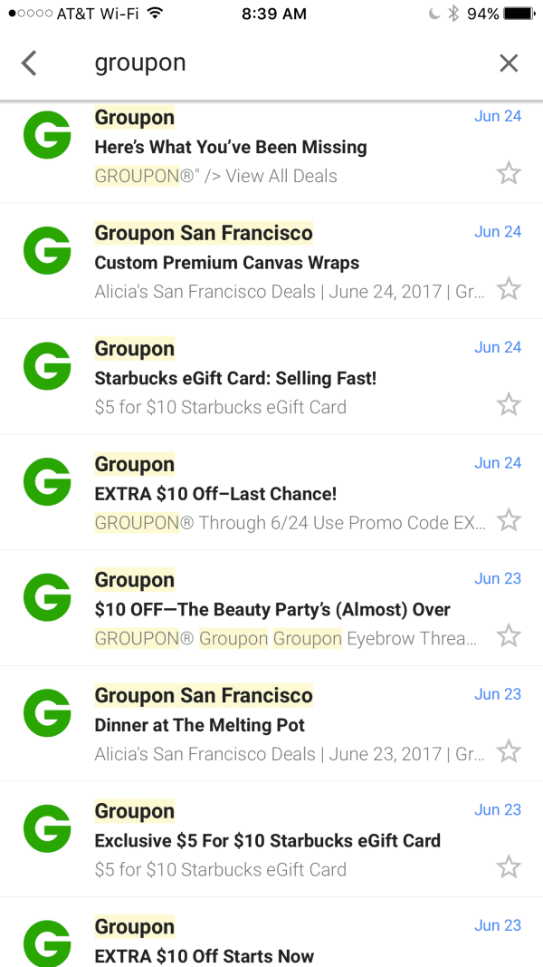 Groupon coupon emails