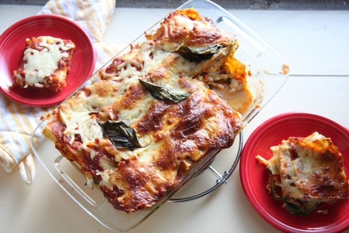 Lightened Up Vegetable Lasagna // 24 Carrot Life #healthy #vegetarian