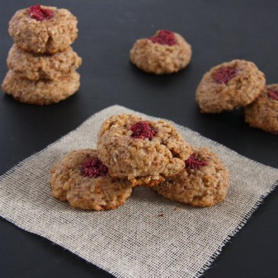 Chia Jam Almond Thumbprint Cookies