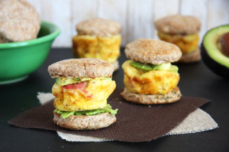 Mini Egg and Whole Wheat Biscuit Sandwiches