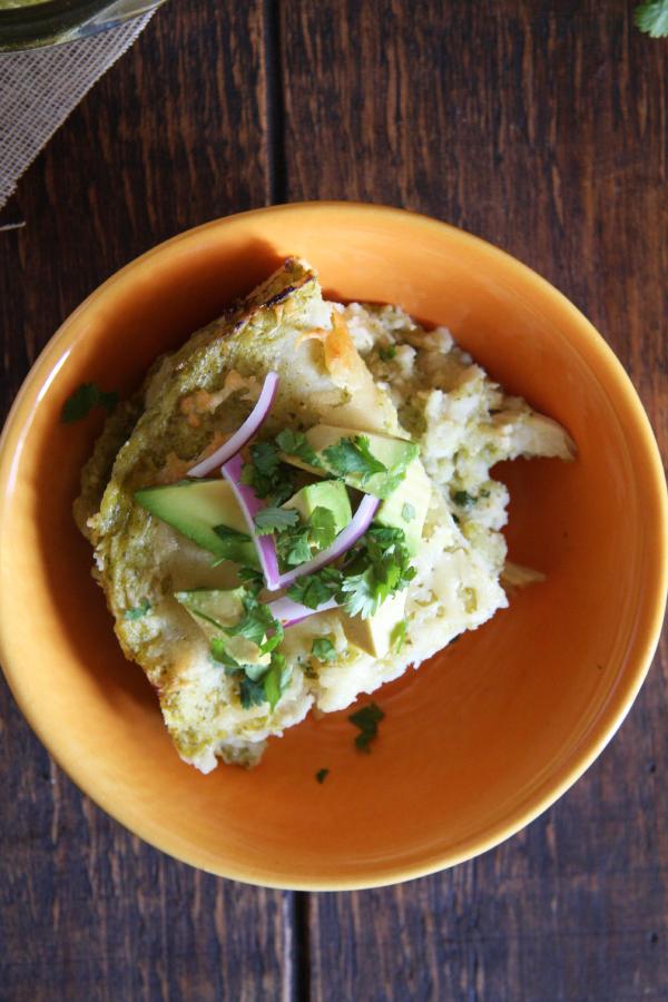 Salsa Verde Chicken Enchilada Bake I 24 Carrot Life