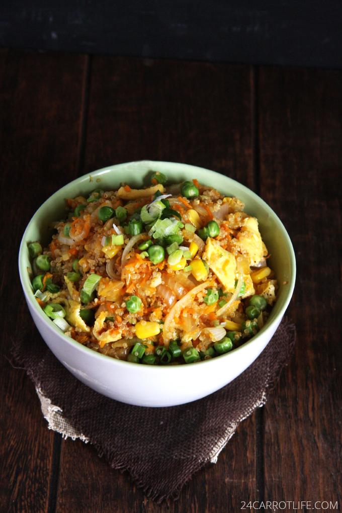 Vegetarian Quinoa Fried Rice // 24 Carrot Life #healthy