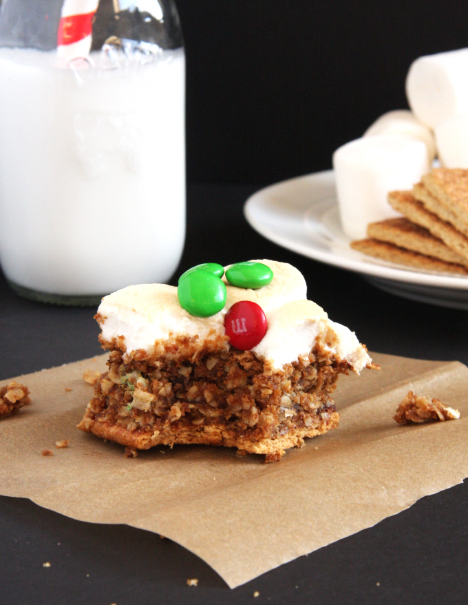 Almond Butter Monster Cookie Smores Bars // 24 Carrot Life #reciperedux #smores