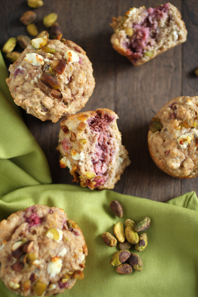 Raspberry Goat Cheese Savory Muffins // 24 Carrot Life #wholewheat #pistachios
