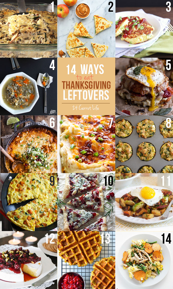 14 Ways to Use Thanksgiving Leftovers // 24 Carrot Life #thanksgiving #leftovers