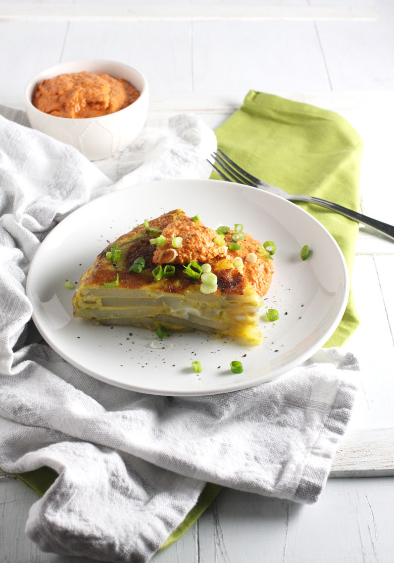 Tortilla Española with Red Pepper Sauce // 24 Carrot Life #sponsored #healthy #beholdpotatoes