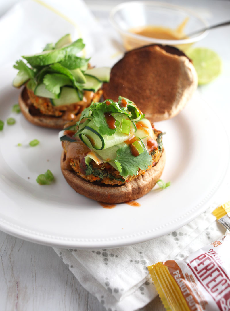 Thai Veggie Burgers with Peanut Sauce // These burgers are practically foolproof, are made with filling chickpeas and a spicy peanut sauce via 24 Carrot Life #sponsored