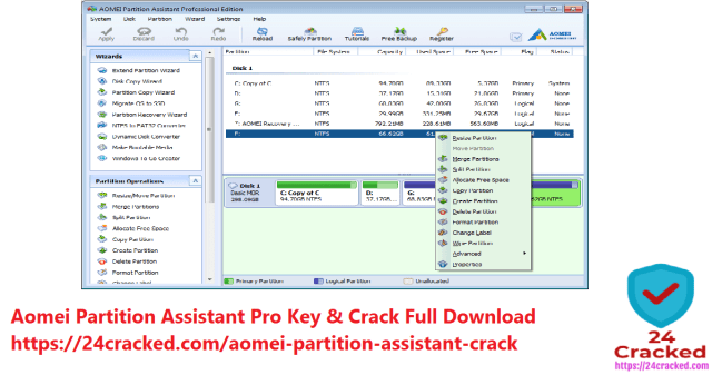 Aomei Partition Assistant Pro Key & Crack Full Download