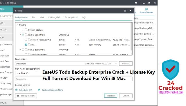 EaseUS Todo Backup Enterprise Crack + License Key Full Torrent Download For Win & Mac