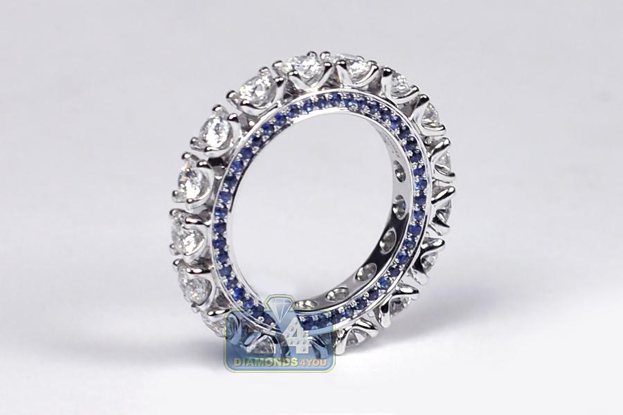 18K White Gold 4.02 Ct Diamond Blue Sapphire Womens
