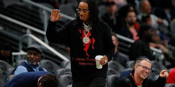 Quavo Shows Off His Drip At Hawks Game