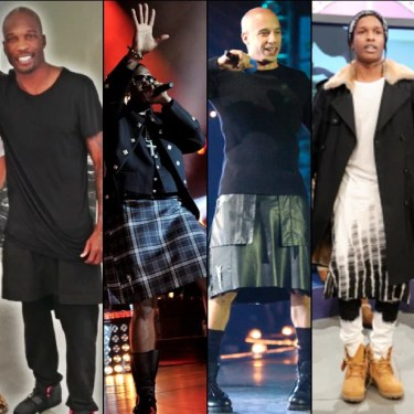 (lL to r) Chad Ochocinco, Kanye West, Vin Diesel, and A$AP Rocky. When did it it become fashionable for black men to wear skirts? Is it traditional of black culture?