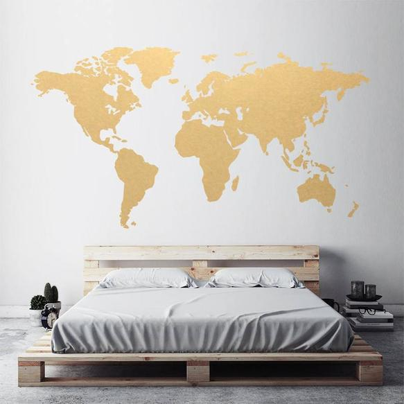 gold wall world map