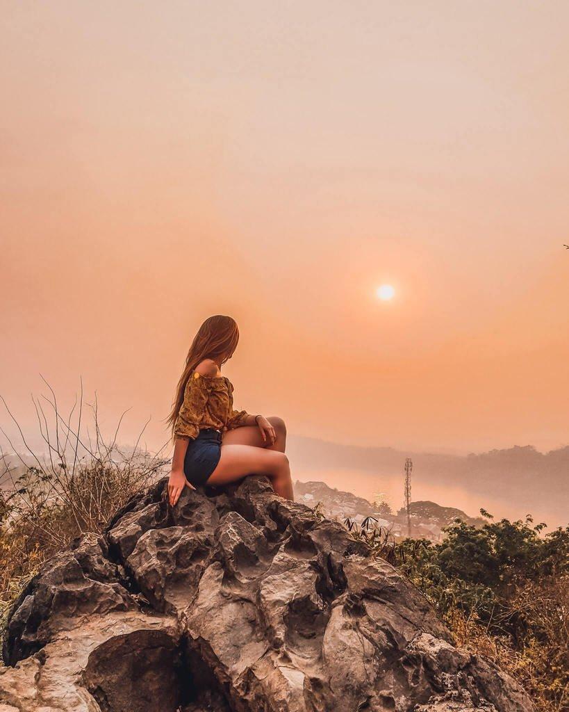 phousi mountain sunset view Mekong river Laos