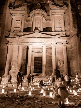 Petra by night photography in Jordan instagrammable places