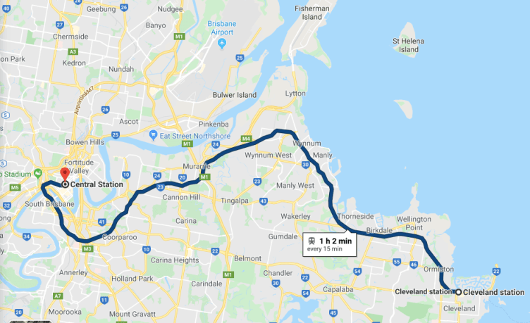 train from Brisbane to Cleveland