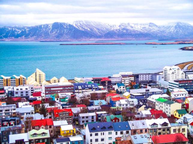 reykjavik colourful houses view from church