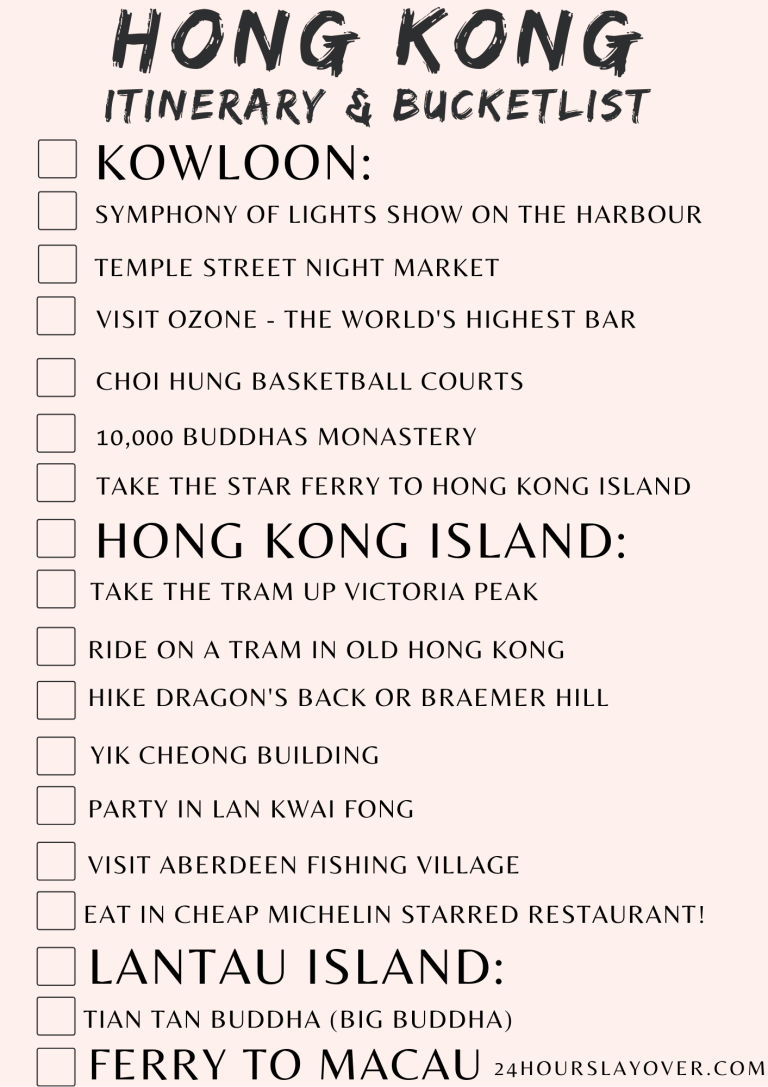 hong kong bucket list and itinerary